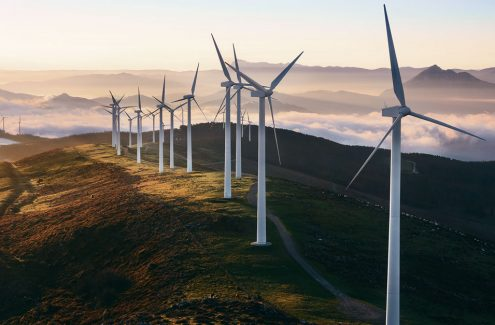Image of a wind farm that would use predictive maintenance for wind power